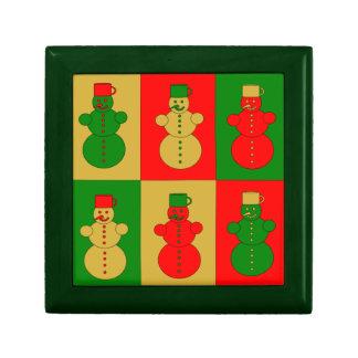 Muñecos de nieve rojos de oro y verdes caja de joyas