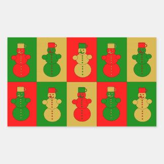Muñecos de nieve rojos, de oro y verdes rectangular pegatina