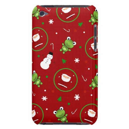 Muñecos de nieve rojos de Papá Noel de las ranas iPod Case-Mate Cobertura