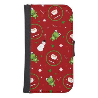 Muñecos de nieve rojos de Papá Noel de las ranas Fundas Tipo Cartera Para Galaxy S4