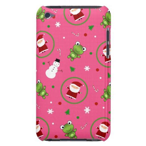 Muñecos de nieve rosados de Papá Noel de las ranas iPod Touch Case-Mate Protector