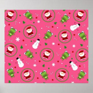 Muñecos de nieve rosados de Papá Noel de las ranas Poster