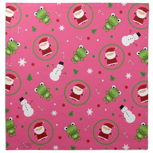Muñecos de nieve rosados de Papá Noel de las ranas Servilletas Imprimidas