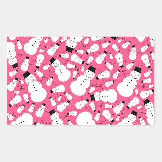 Muñecos de nieve rosados rectangular pegatinas