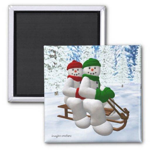 Muñecos de nieve Sledding del vintage Iman De Nevera