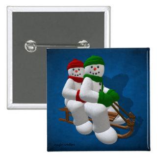 Muñecos de nieve Sledding del vintage Pin