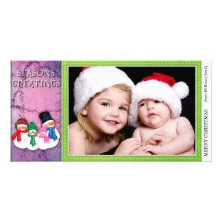 Muñecos de nieve tarjeta fotográfica