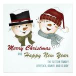 Muñecos de nieve:: Tarjeta de las Felices Navidad Comunicados