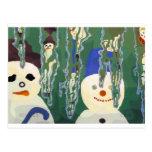 muñecos de nieve y carámbanos postal