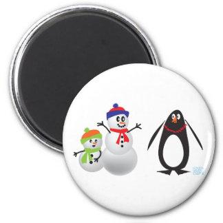 Muñecos de nieve y pingüino iman para frigorífico