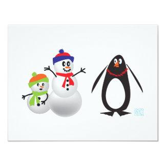 Muñecos de nieve y pingüino invitación 10,8 x 13,9 cm