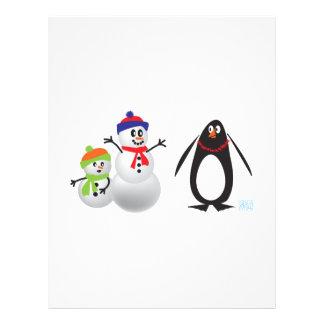 Muñecos de nieve y pingüino membrete