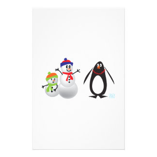 Muñecos de nieve y pingüino papelería