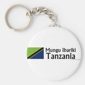 Mungu Ibariki (God Bless) Tanzania with flag Basic Round Button Keychain