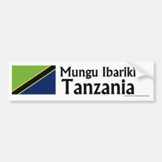 Mungu Ibariki (God Bless) Tanzania with flag Car Bumper Sticker