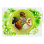 Munia Finches Realistic Painting Greeting Card