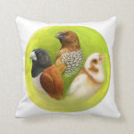 Munia Finches Realistic Painting Pillow