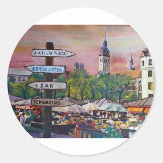 Munich Bavaria Viktualienmarkt With Signposts Classic Round Sticker