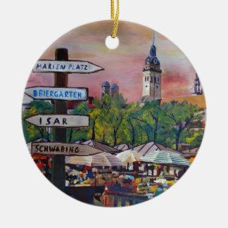 Munich Bavaria Viktualienmarkt With Signposts Double-Sided Ceramic Round Christmas Ornament