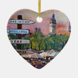 Munich Bavaria Viktualienmarkt With Signposts Double-Sided Heart Ceramic Christmas Ornament