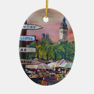 Munich Bavaria Viktualienmarkt With Signposts Double-Sided Oval Ceramic Christmas Ornament
