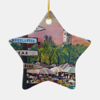 Munich Bavaria Viktualienmarkt With Signposts Double-Sided Star Ceramic Christmas Ornament