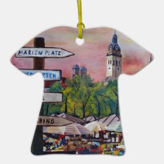 Munich Bavaria Viktualienmarkt With Signposts Double-Sided T-Shirt Ceramic Christmas Ornament