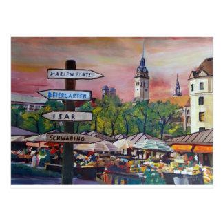 Munich Bavaria Viktualienmarkt With Signposts Postcard