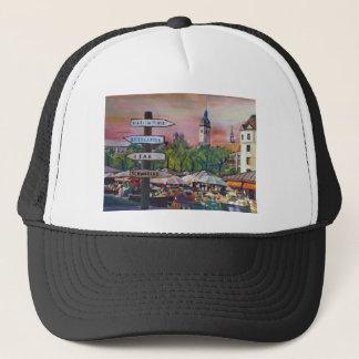 Munich Bavaria Viktualienmarkt With Signposts Trucker Hat