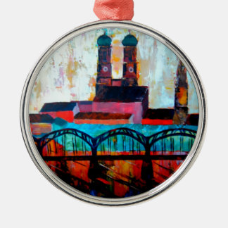 Munich Central Station With Hackerbridge Round Metal Christmas Ornament