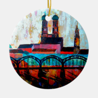 Munich Central Station With Hackerbridge Double-Sided Ceramic Round Christmas Ornament