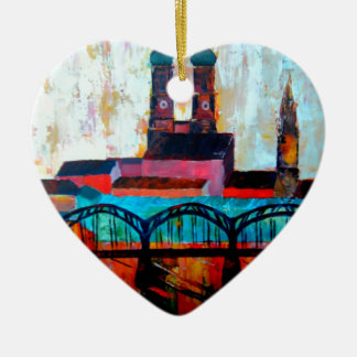 Munich Central Station With Hackerbridge Double-Sided Heart Ceramic Christmas Ornament