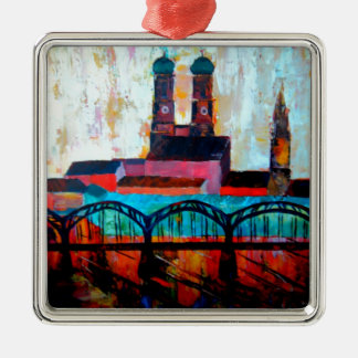 Munich Central Station With Hackerbridge Square Metal Christmas Ornament