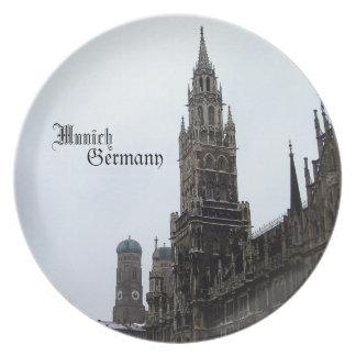 Munich City Hall Germany Travel Souvenir Party Plates