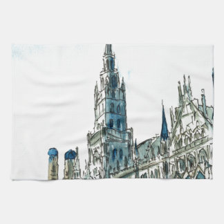 Munich city Hall Marienplatz Hand Towel