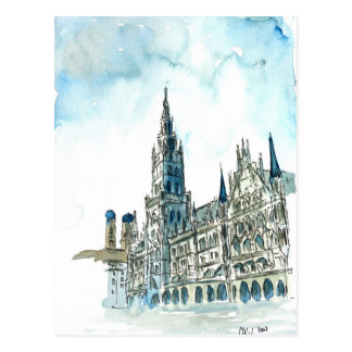 Munich city Hall Marienplatz Postcard