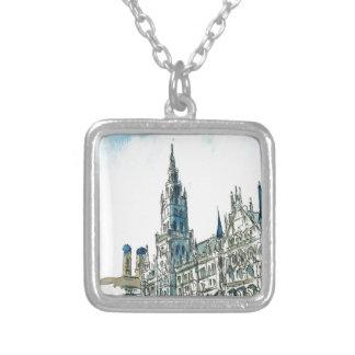 Munich city Hall Marienplatz Silver Plated Necklace