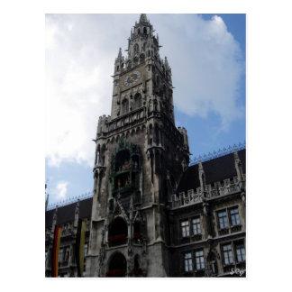Munich Clock Tower Marienplatz Postcard