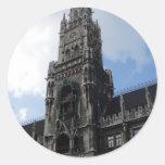 Munich Clock Tower Marienplatz Classic Round Sticker