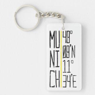 Munich Coordinates Keyring, München Germany Keychain