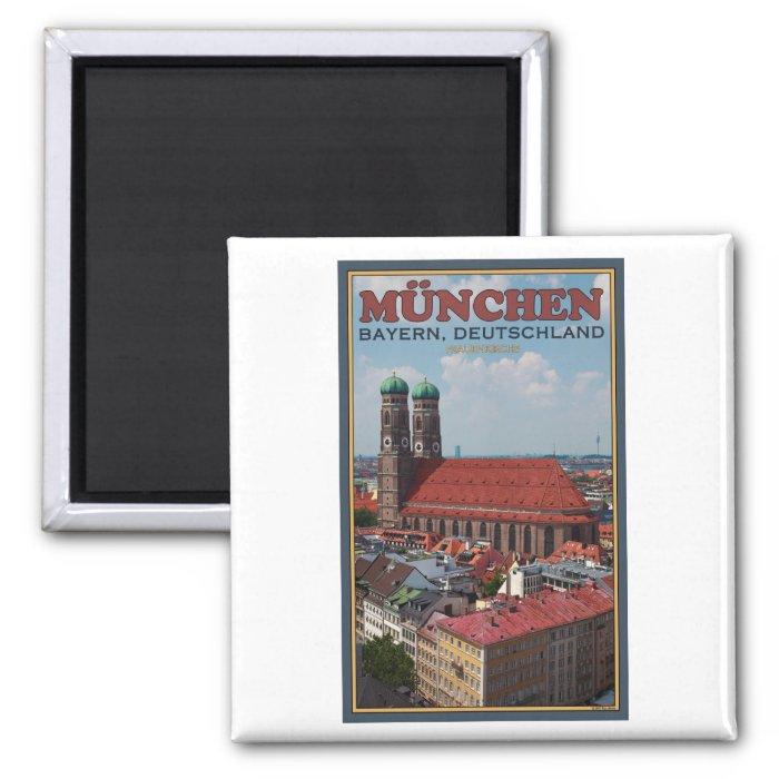 Munich Frauenkirche (Portrait) 2 Inch Square Magnet