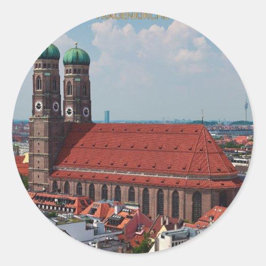 Munich Frauenkirche (Portrait) Classic Round Sticker