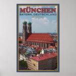 Munich Frauenkirche (retrato) Poster
