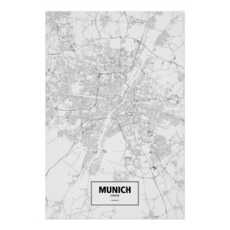 Munich, Germany (black on white) Poster