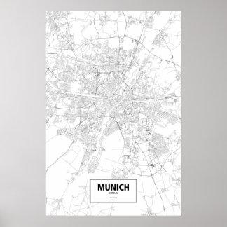 Munich, Germany (black on white) Print