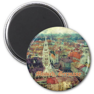 Munich, Germany City View & Church of St. Peter 2 Inch Round Magnet