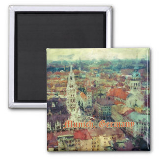 Munich, Germany City View & Church of St. Peter 2 Inch Square Magnet