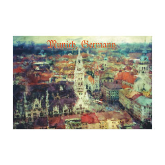 Munich, Germany City View & Church of St. Peter Canvas Print