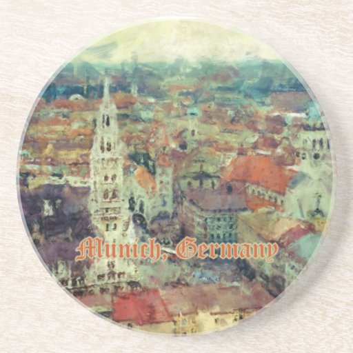 Munich, Germany City View & Church of St. Peter Beverage Coasters