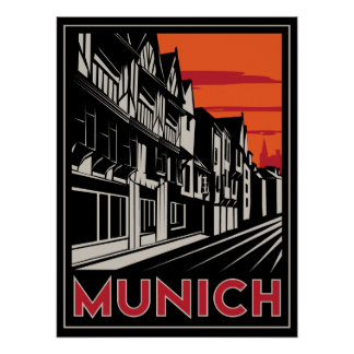 munich germany oktoberfest art deco retro poster